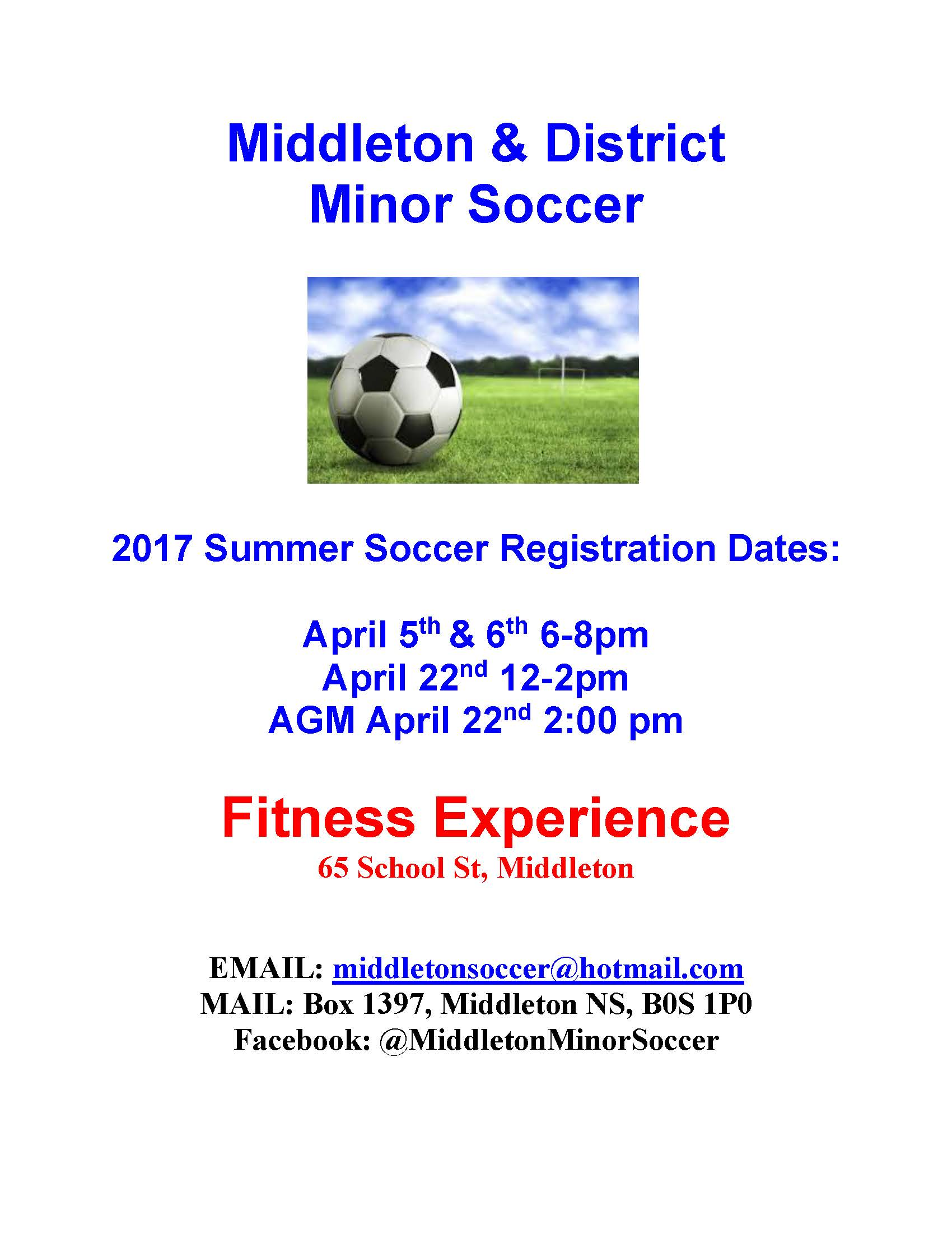 Middleton Soccer Registration dates2017